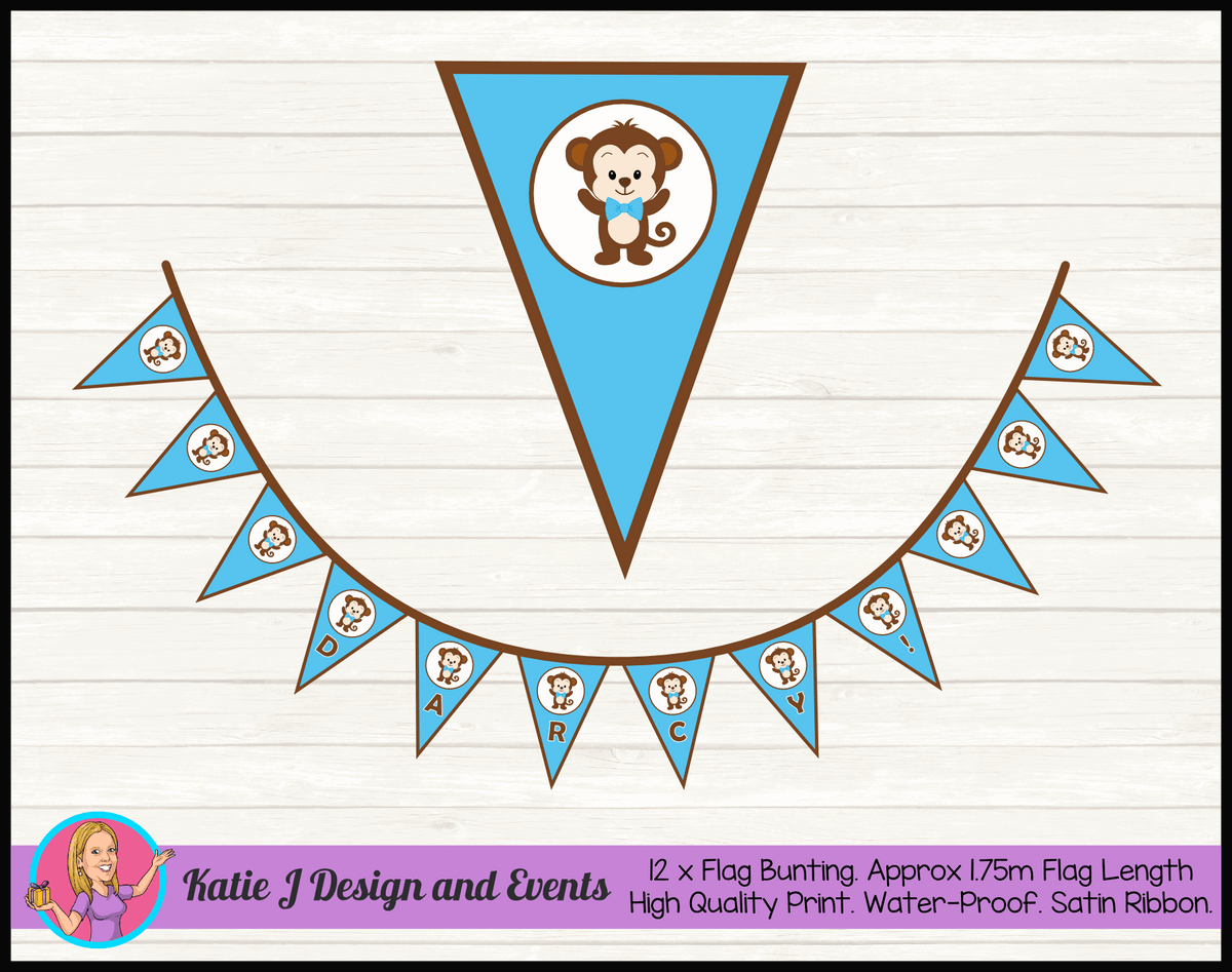 Personalised Boys Monkey Birthday Party Decorations