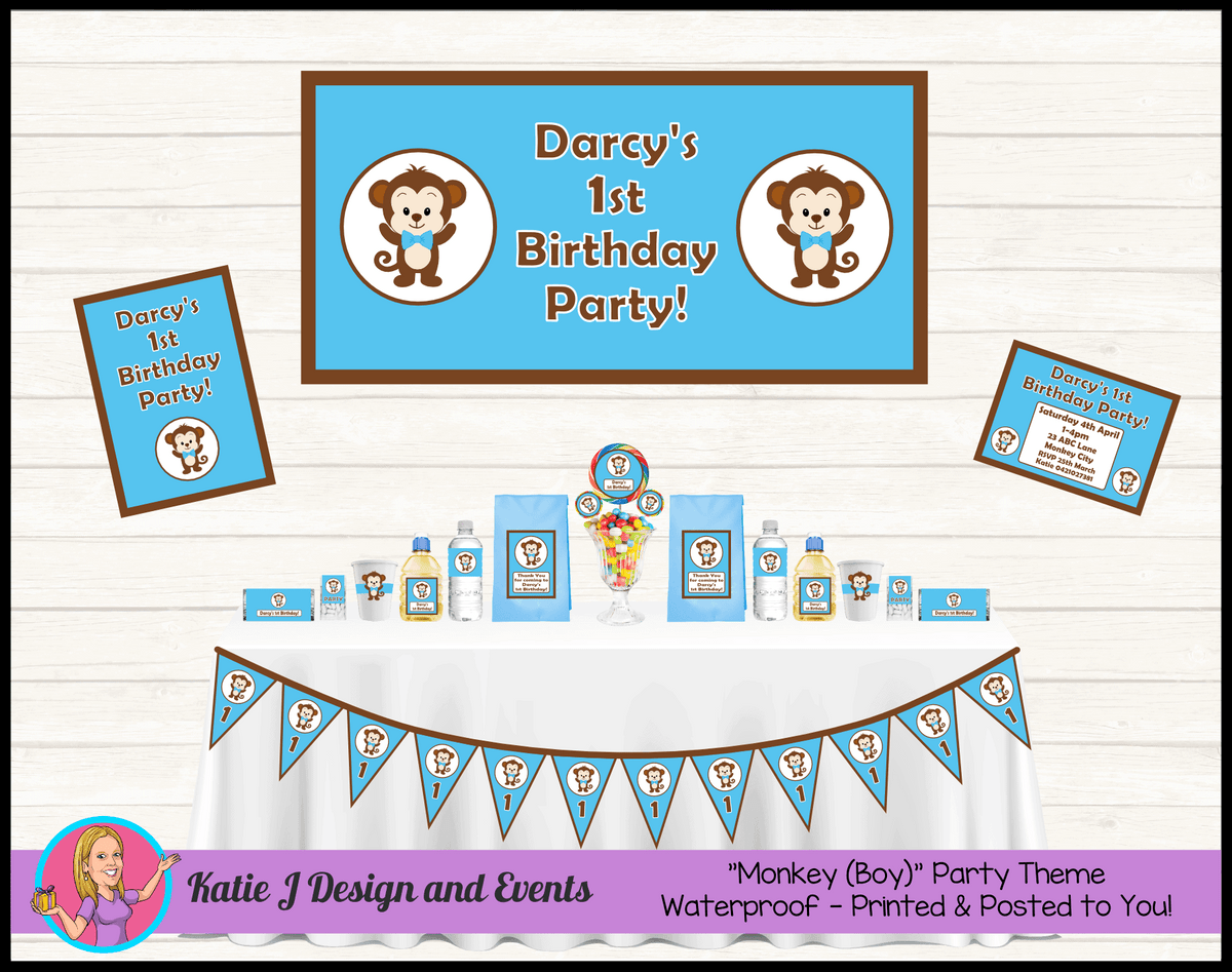 Personalised Boys Monkey Party Packs Decorations Supplies