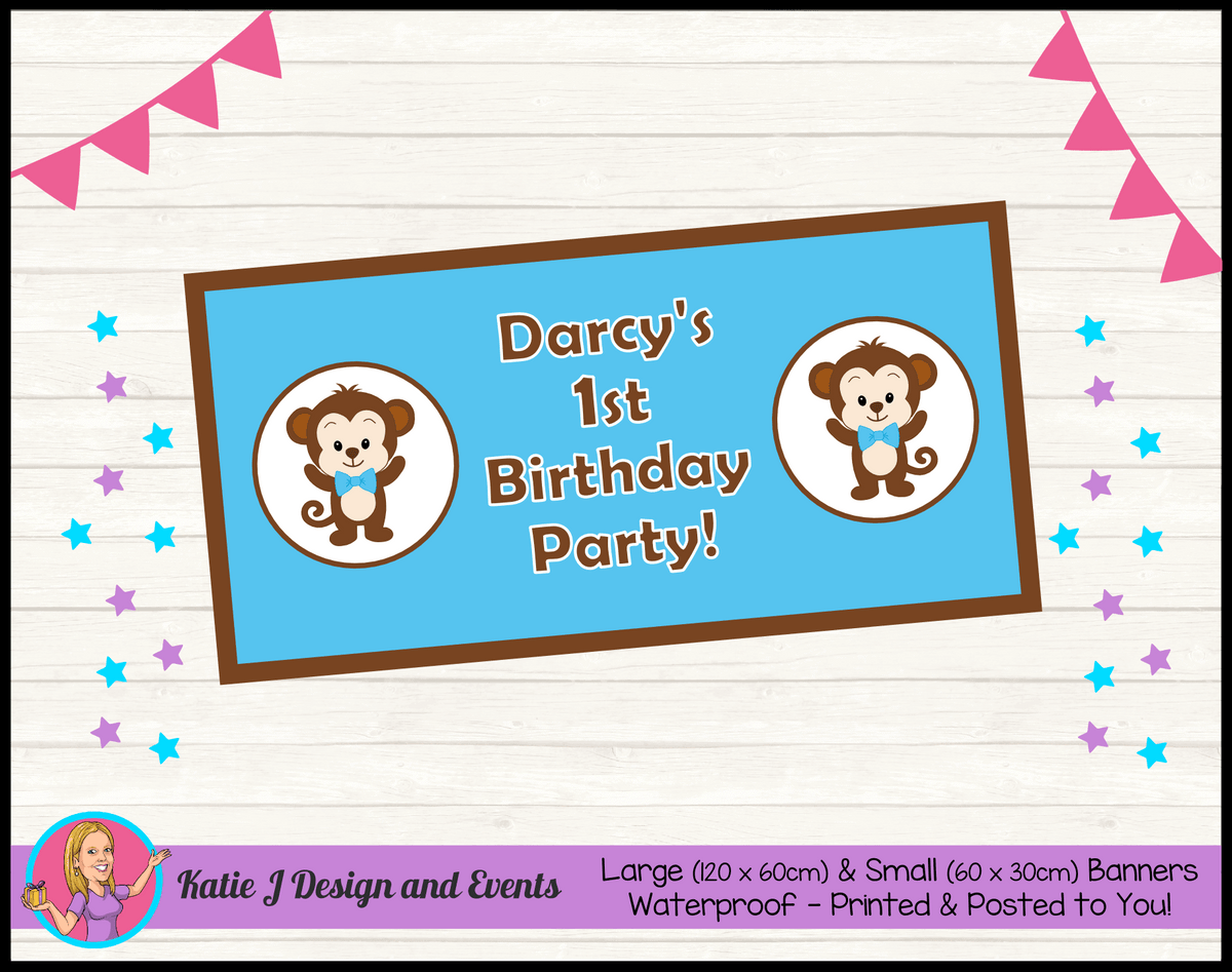 Personalised Boys Monkey Birthday Party Banner