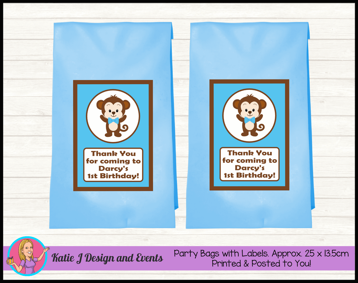 Personalised Boys Monkey Birthday Party Loot Bags