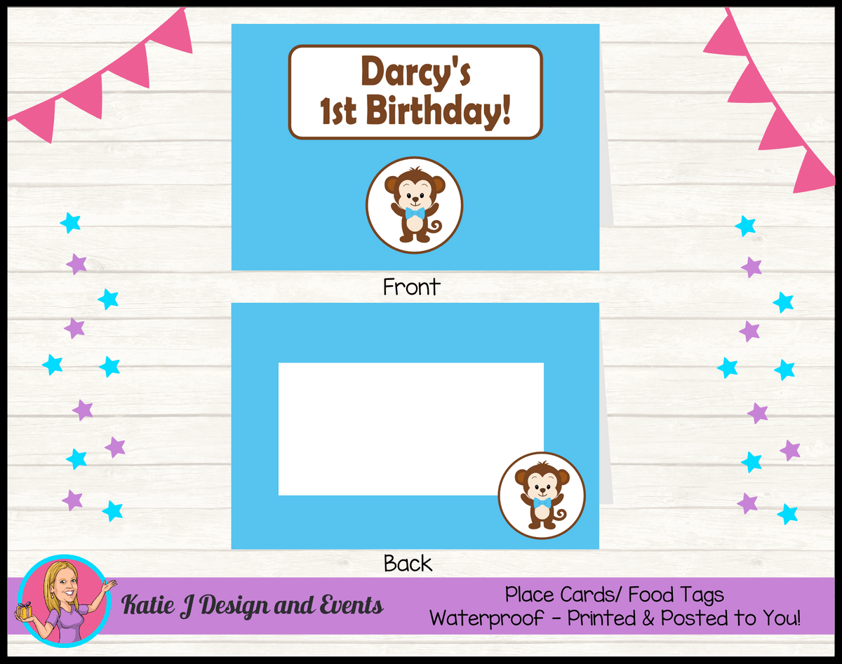 Personalised Boys Monkey Party Place Cards