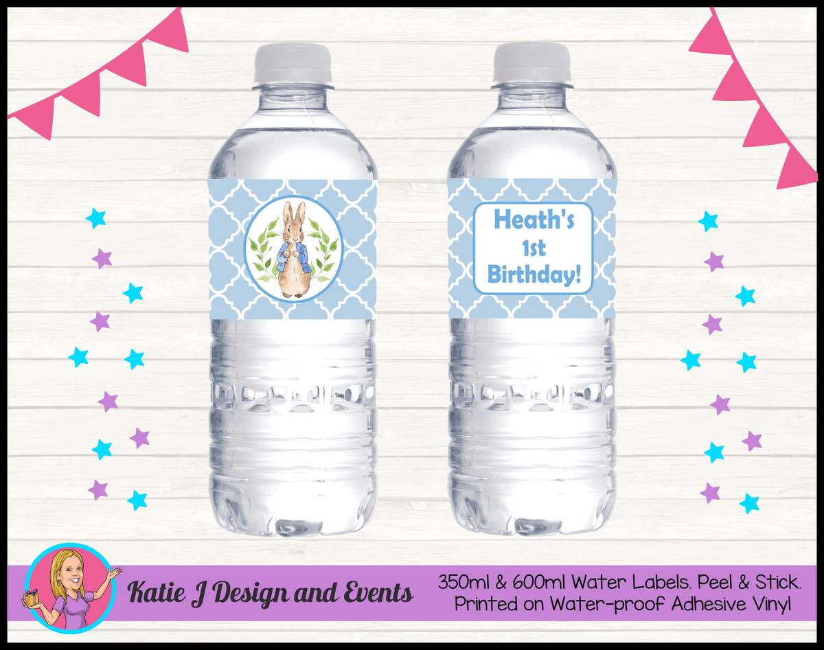 Personalised Boys Peter Rabbit Party Water Labels