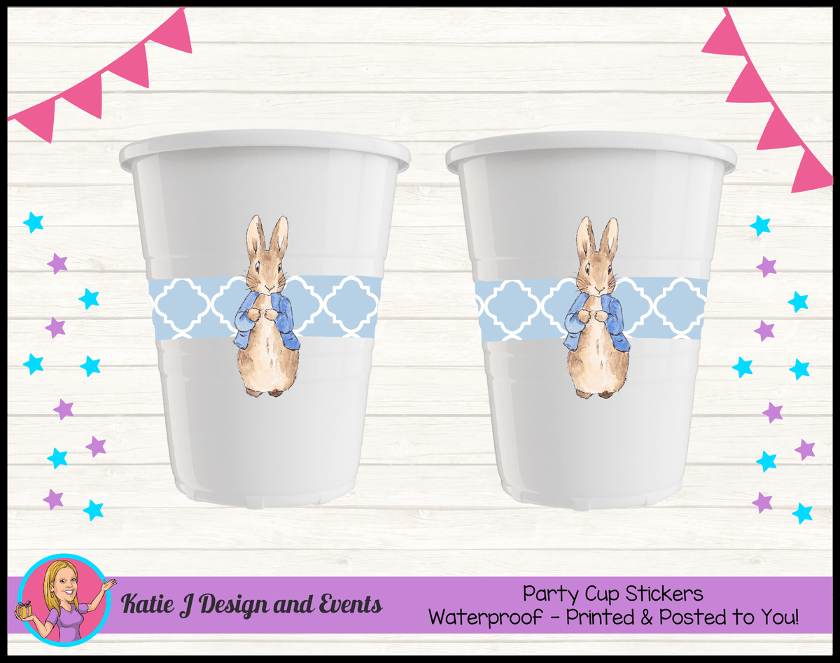 Personalised Boys Peter Rabbit Party Cup Stickers Cups