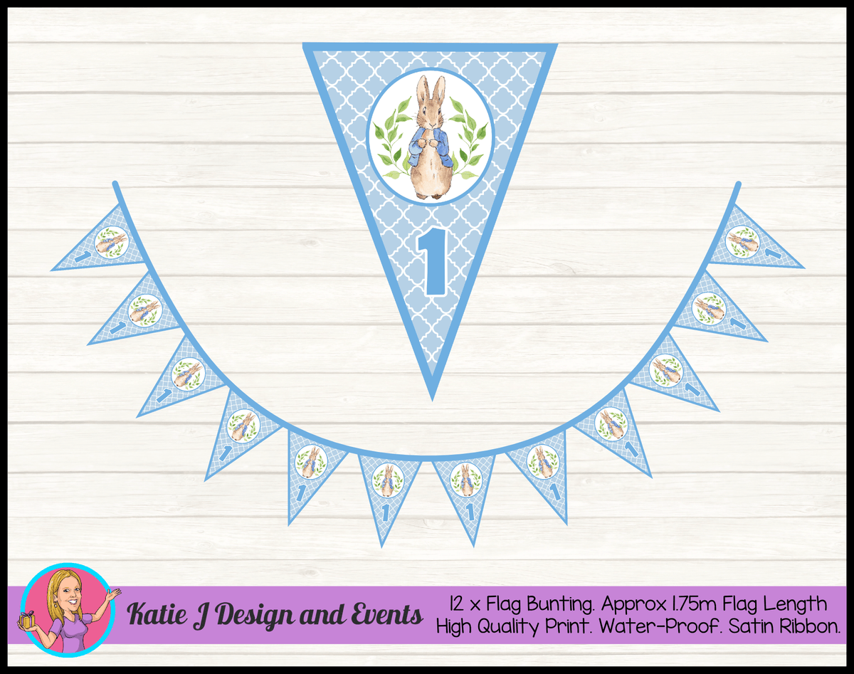 Personalised Boys Peter Rabbit Birthday Party Flag Bunting