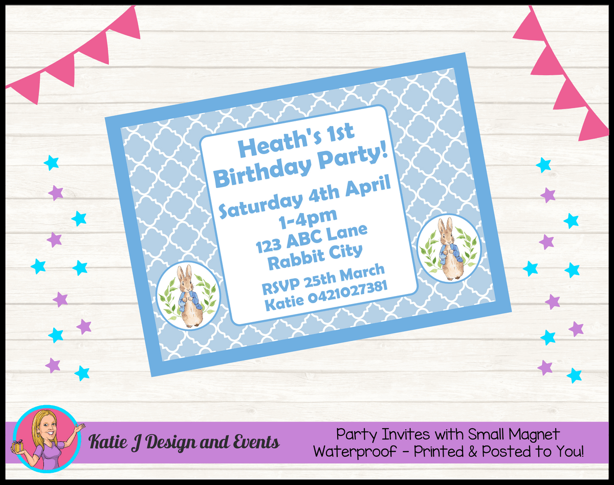 Personalised Boys Peter Rabbit Birthday Party Invites Invitations