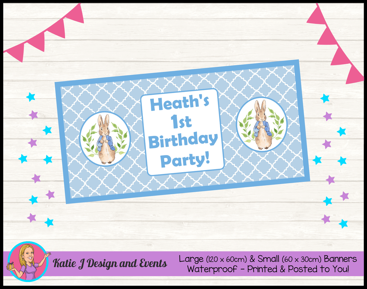 Personalised Boys Peter Rabbit Birthday Party Banner