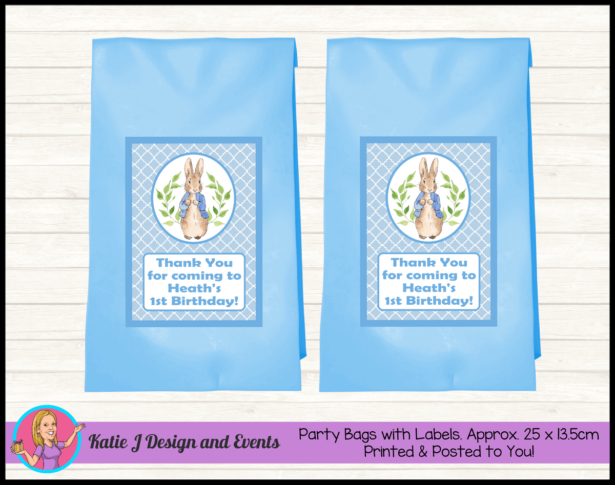 Personalised Boys Peter Rabbit Birthday Party Loot Bags