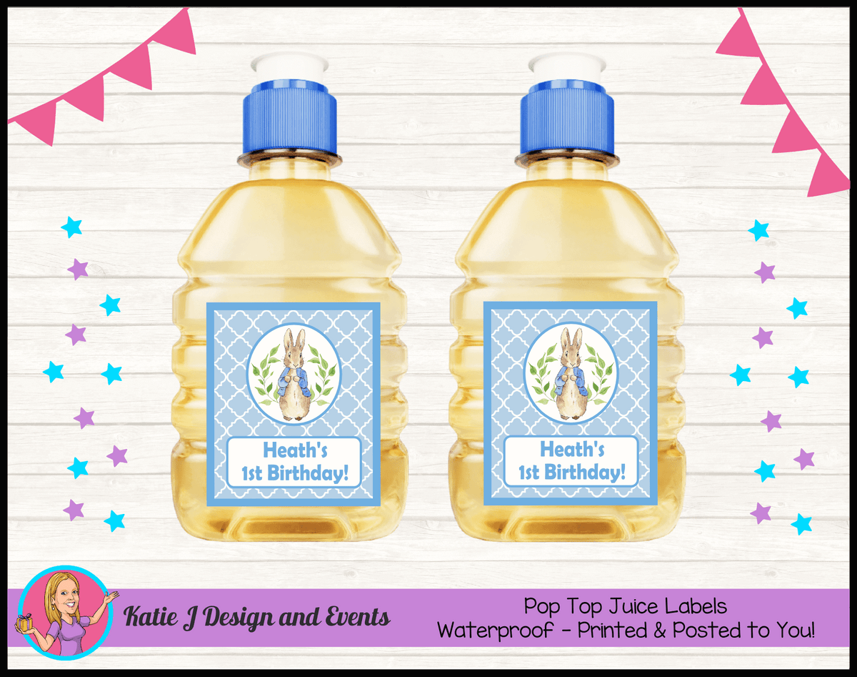 Personalised Boys Peter Rabbit Pop Top Juice Labels
