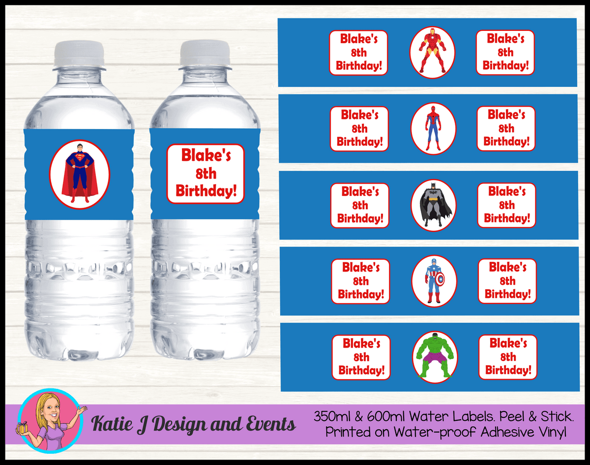Personalised Boys Superheroes Birthday Party Water Labels