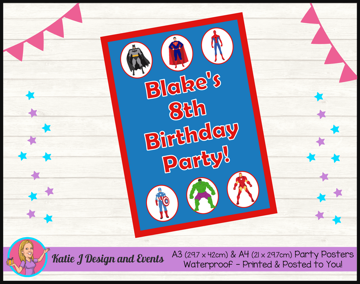 Personalised Boys Superheroes Birthday Party Poster