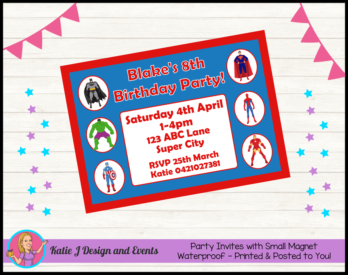 Personalised Boys Superheroes Birthday Party Invites Invitations