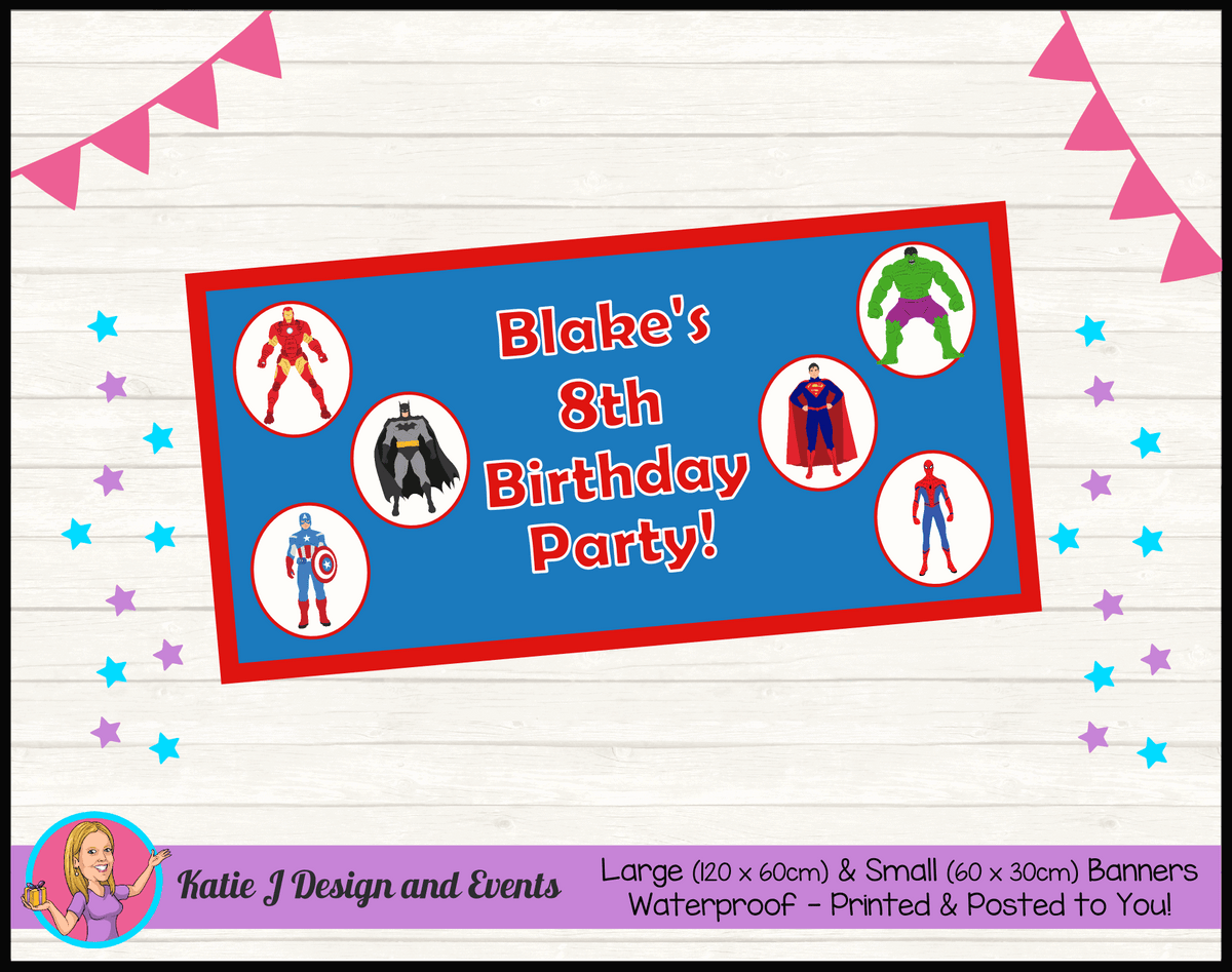 Personalised Boys Superheroes Birthday Party Banner