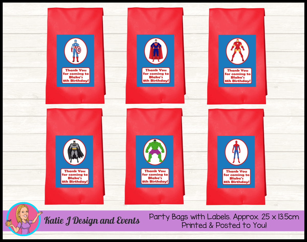 Personalised Boys Superheroes Birthday Party Loot Bags
