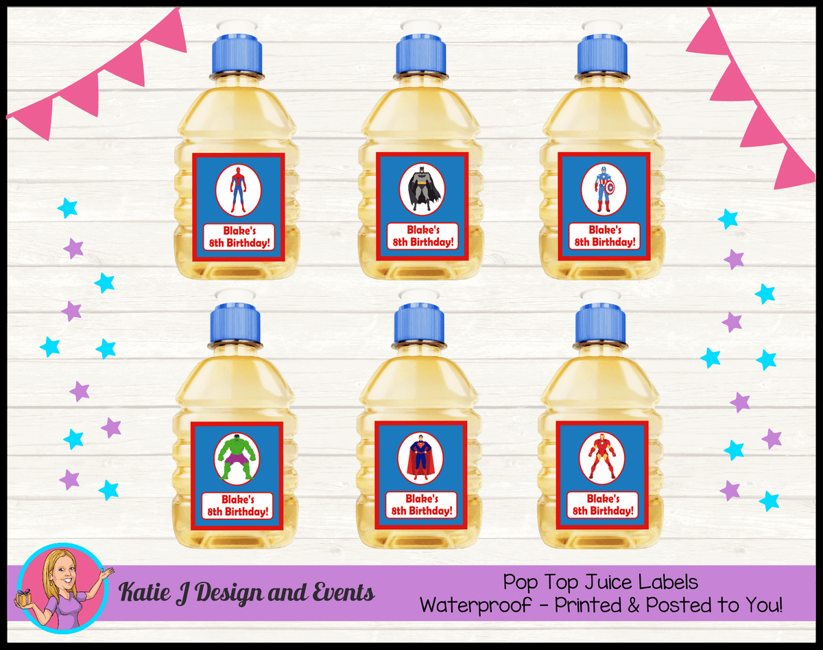 Personalised Boys Superheroes Pop Top Juice Labels
