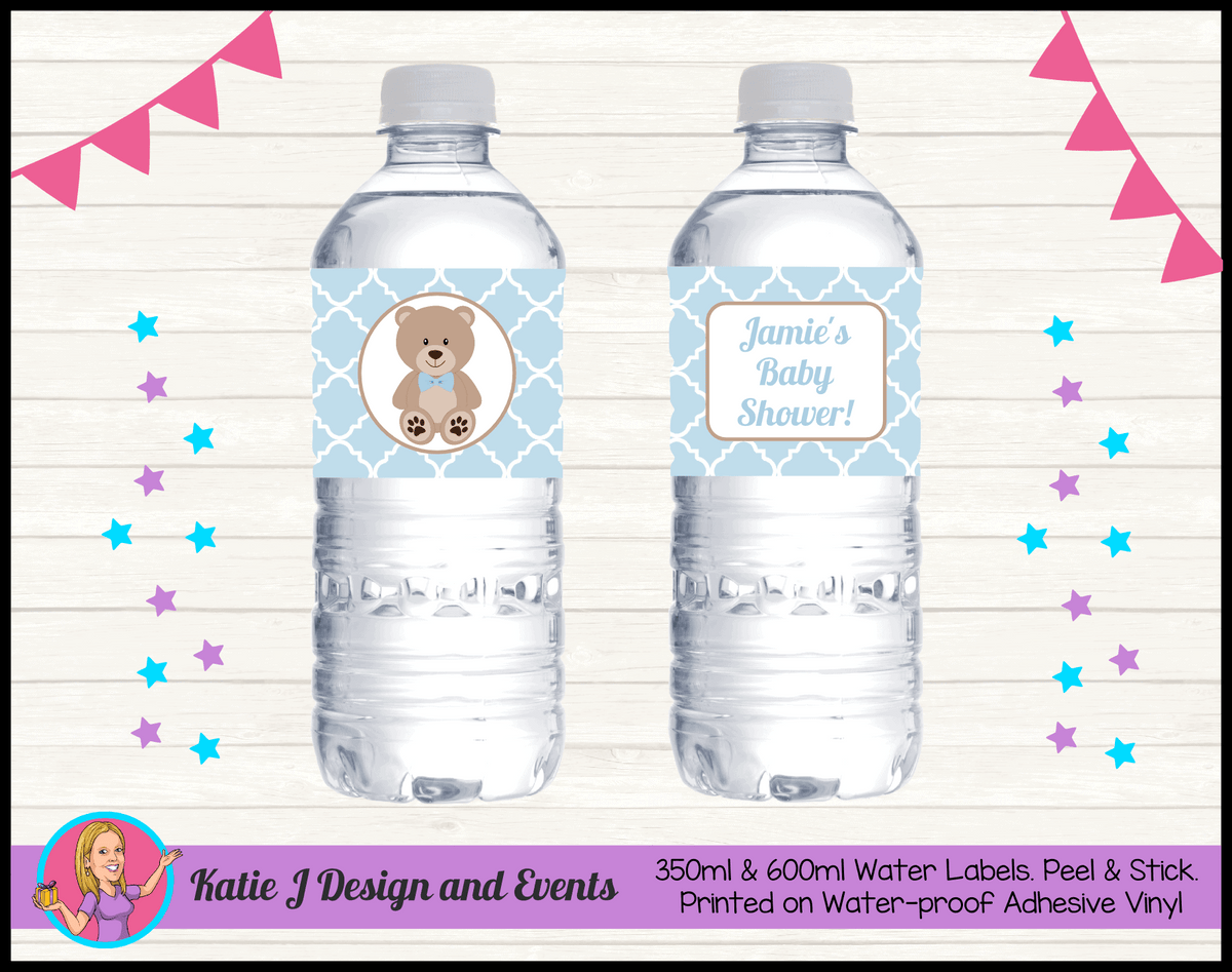 Personalised Boys Teddy Bear Baby Shower Water Labels