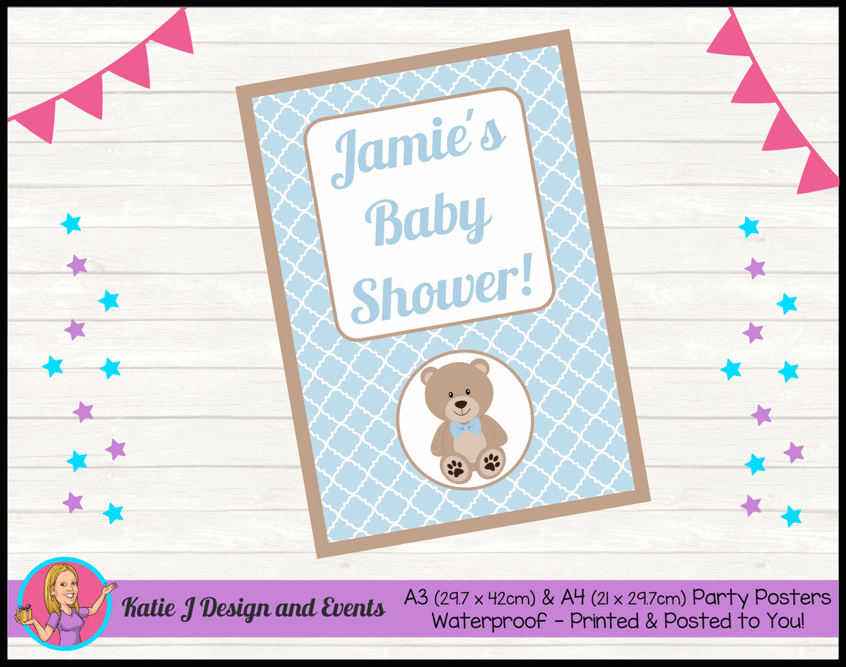 Personalised Boys Teddy Bear Baby Shower Poster
