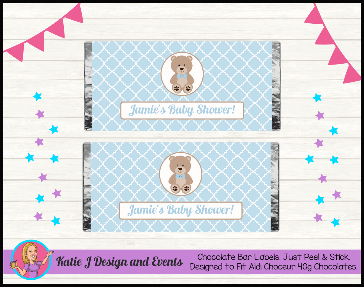 Personalised Boys Teddy Bear Baby Shower Chocolate Labels Wrappers
