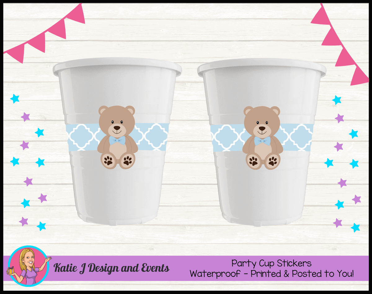 Personalised Boys Teddy Bear Baby Shower Cup Stickers Cups