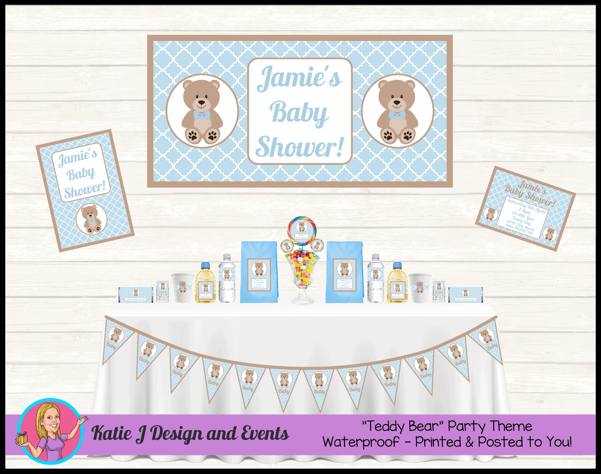 Personalised Boys Teddy Bear Baby Shower Packs Decorations Supplies