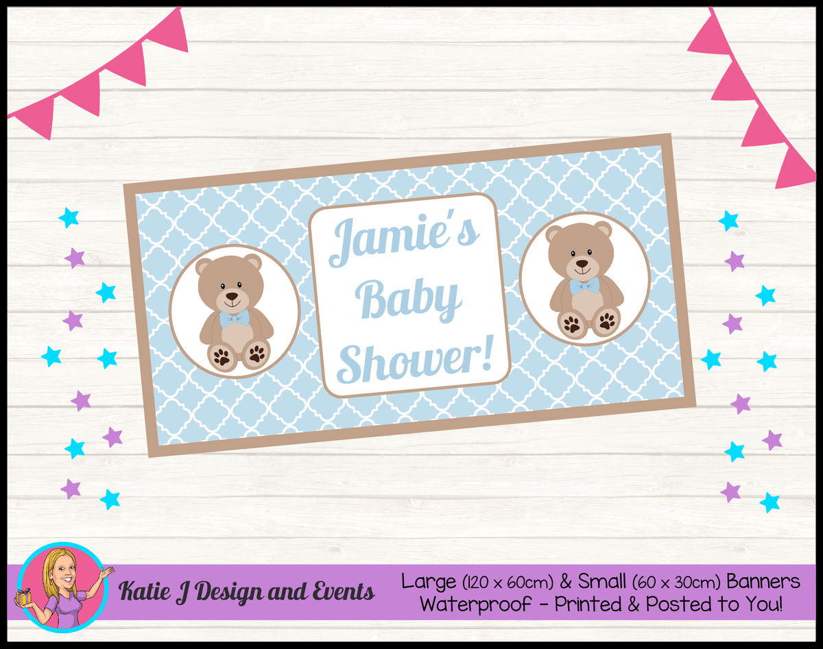 Personalised Boys Teddy Bear Baby Shower Banner