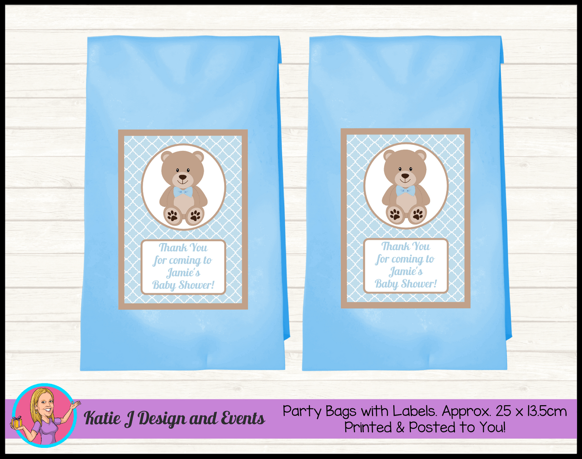 Personalised Boys Teddy Bear Baby Shower Party Loot Bags