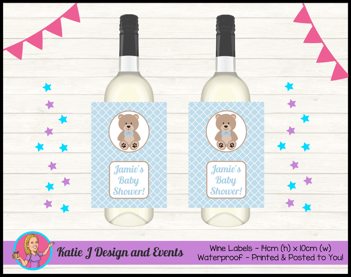 Personalised Boys Teddy Bear Baby Shower Wine Labels