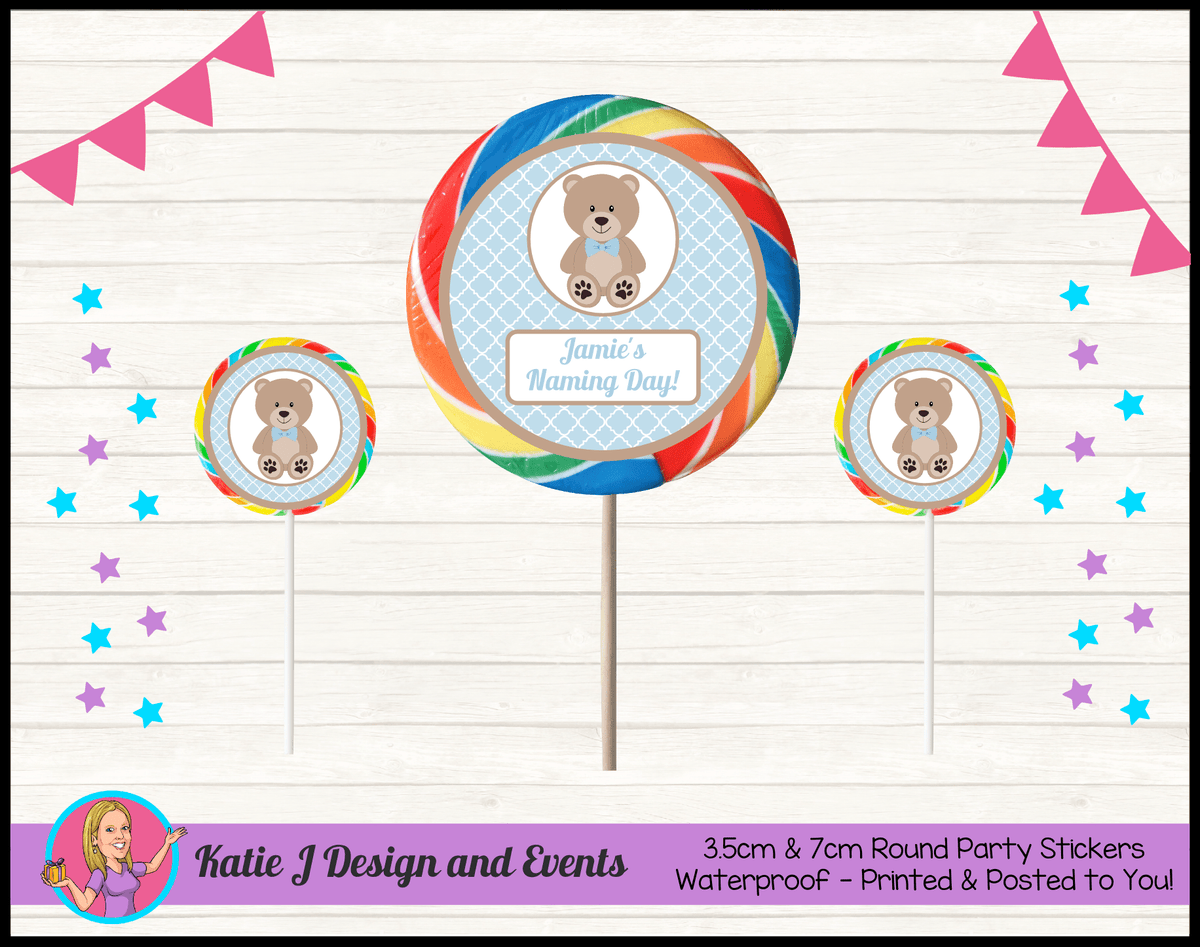 Personalised Boys Teddy Bear Naming Day Round Lollipop Stickers