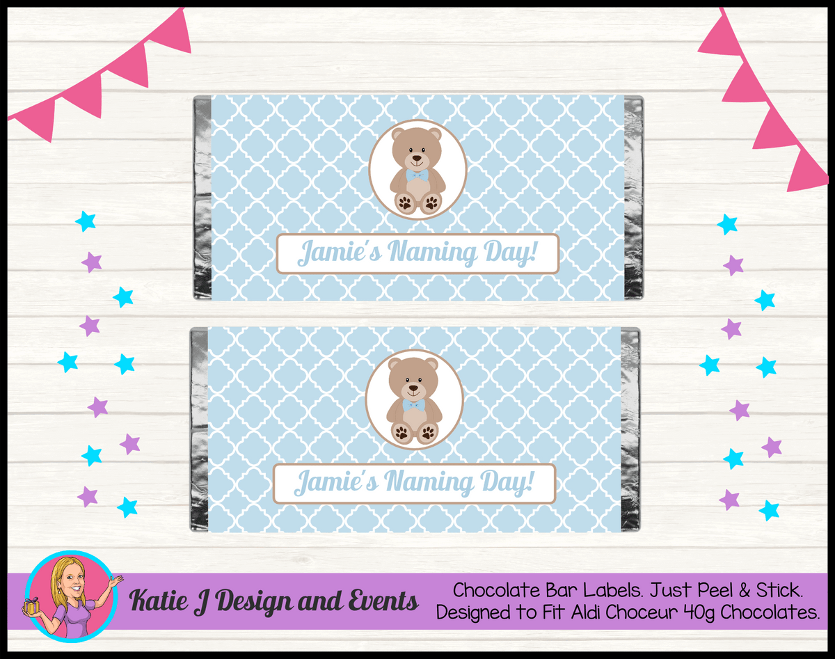 Personalised Boys Teddy Bear Naming Day Chocolate Labels Wrappers