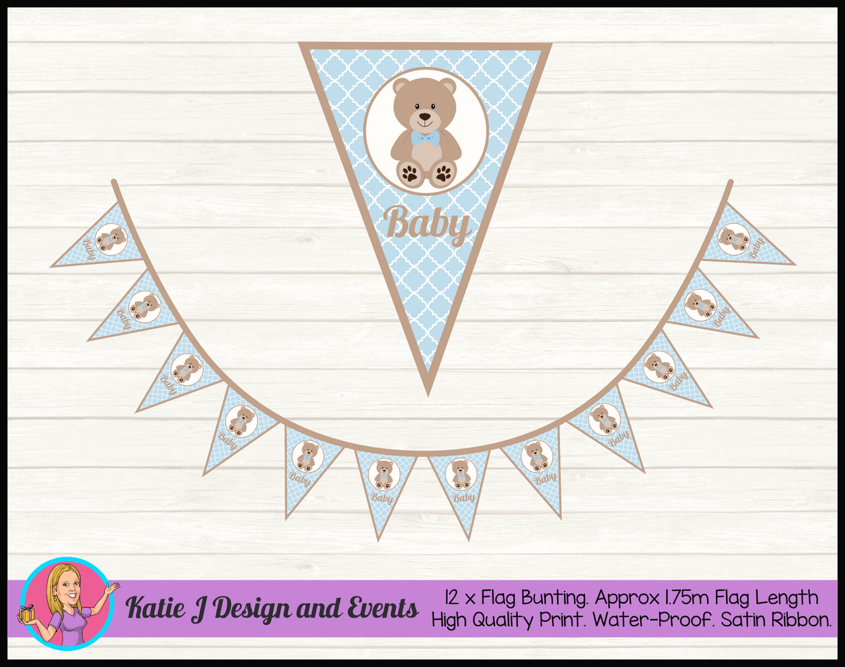 Personalised Boys Teddy Bear Naming Day Flag Bunting