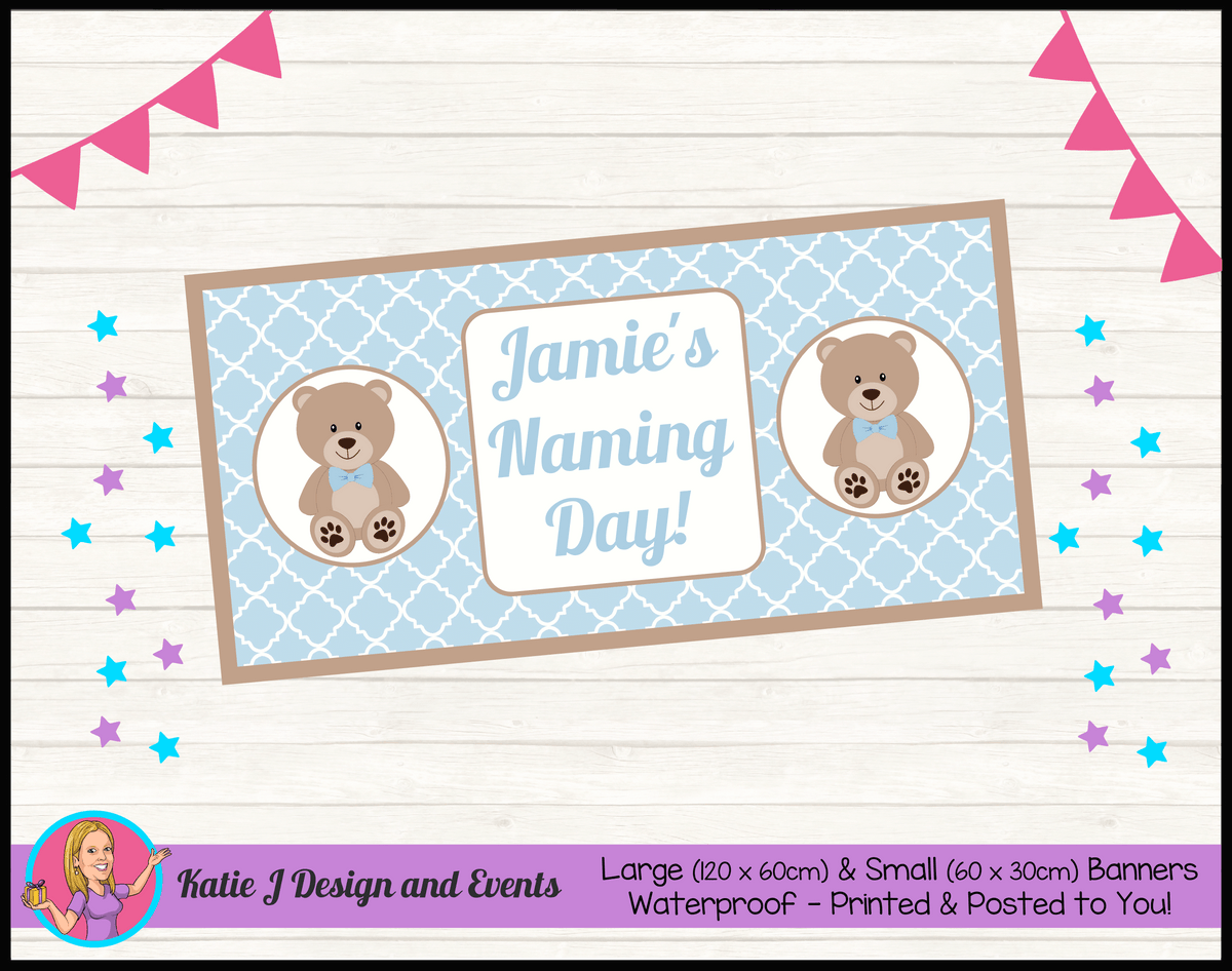 Personalised Boys Teddy Bear Naming Day Banner
