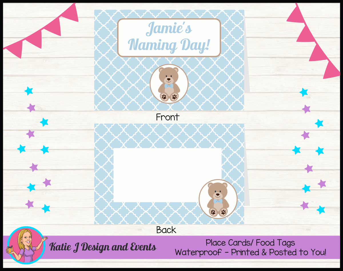 Personalised Boys Teddy Bear Naming Day Place Cards