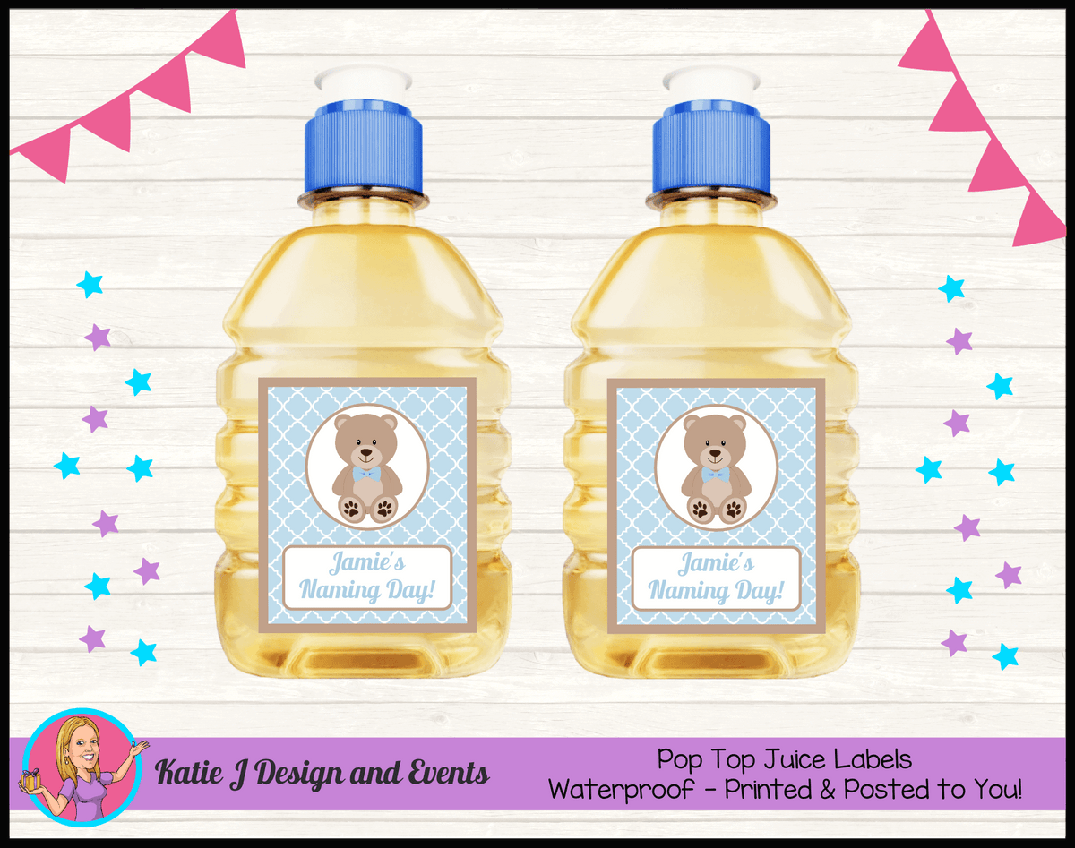Personalised Boys Teddy Bear Naming Day Pop Top Juice Labels