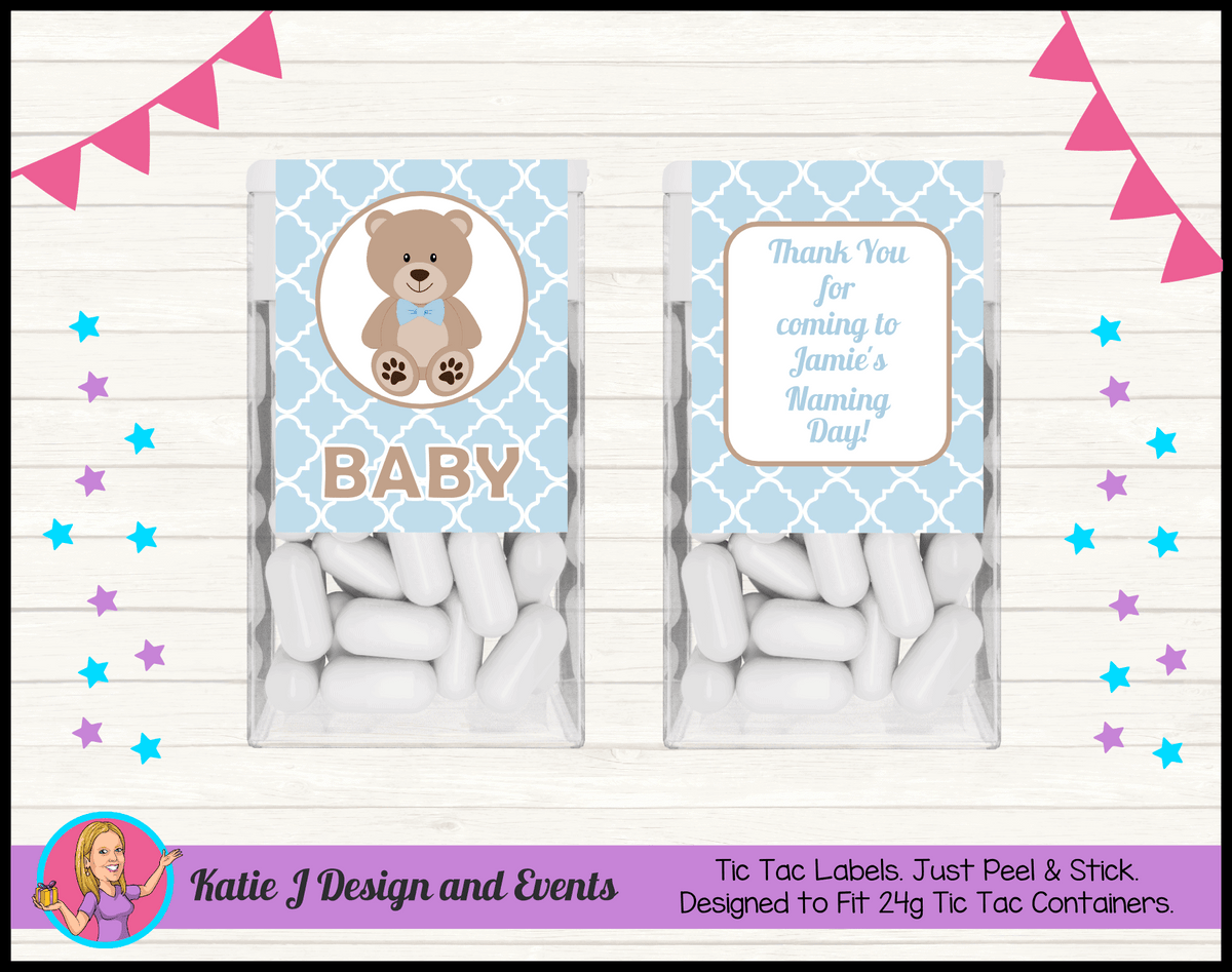Personalised Boys Teddy Bear Naming Day Tic Tac Mint Labels