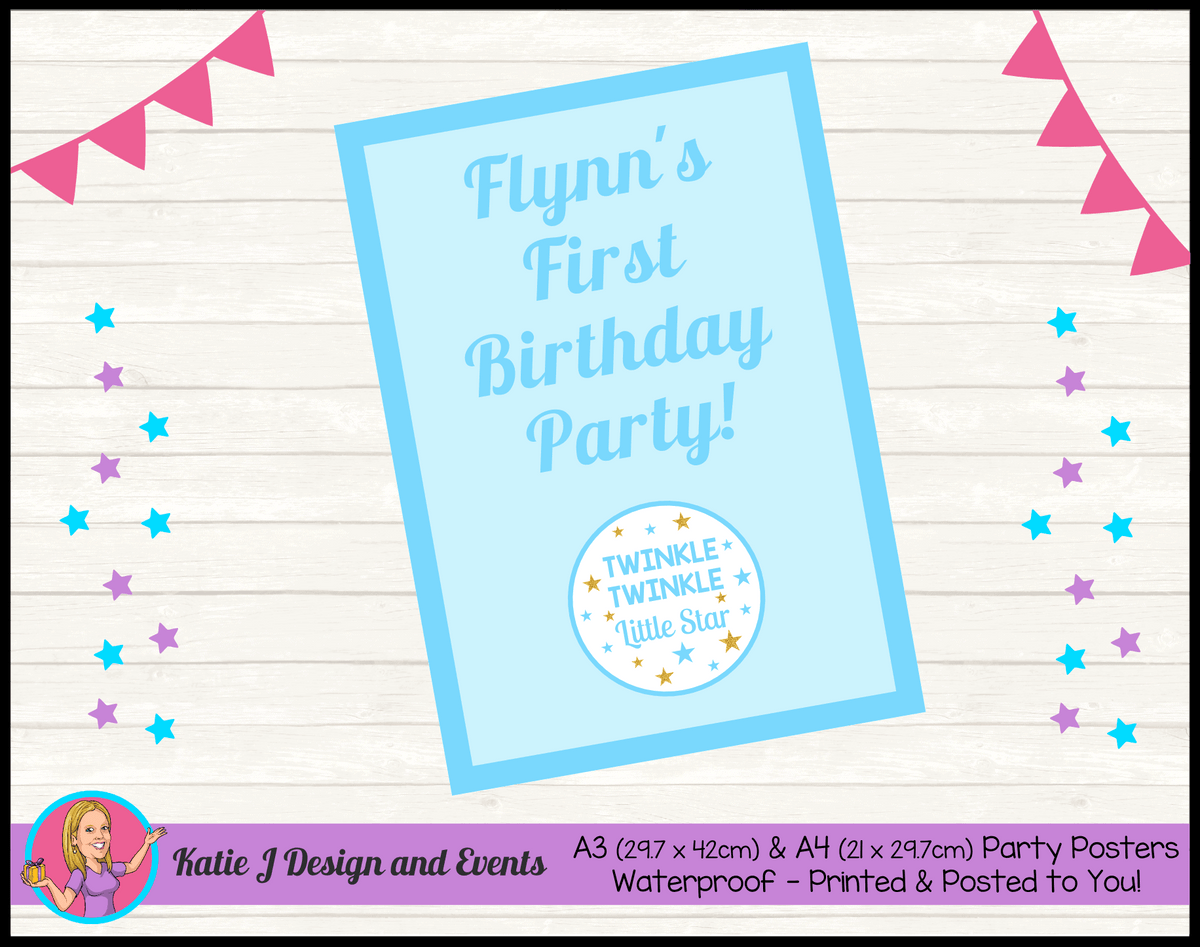 Personalised Boys Twinkle Twinkle Birthday Party Poster