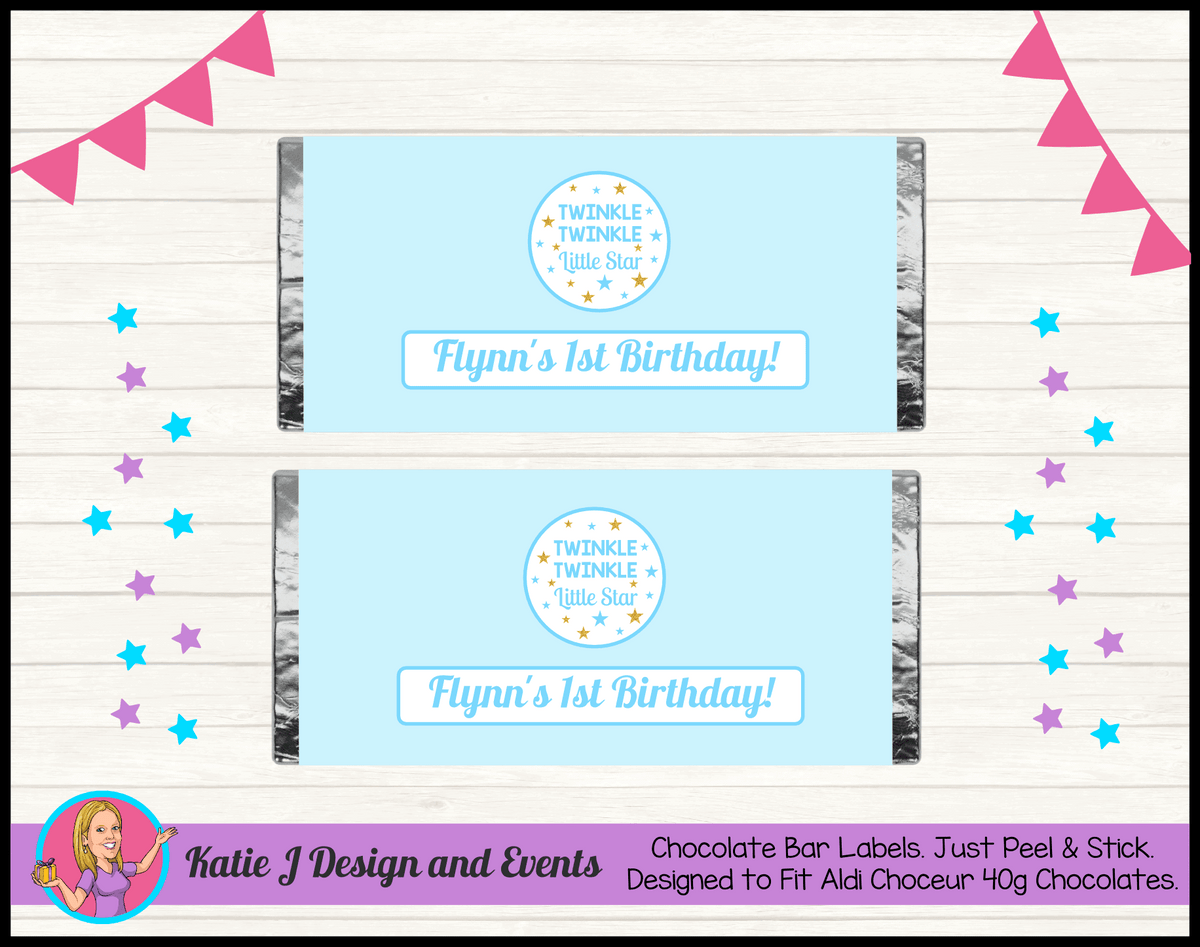 Personalised Boys Twinkle Twinkle Birthday Chocolate Labels Wrappers