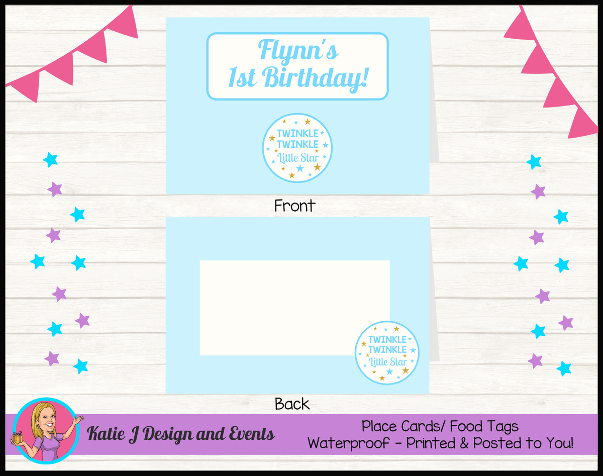 Personalised Boys Twinkle Twinkle Party Place Cards