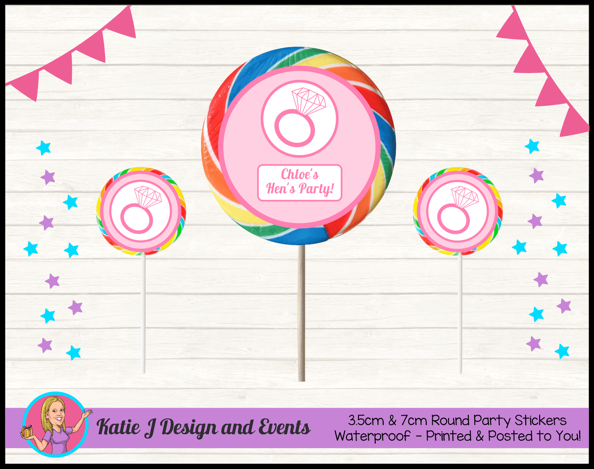 Personalised Pink Hens Party Round Lollipop Stickers