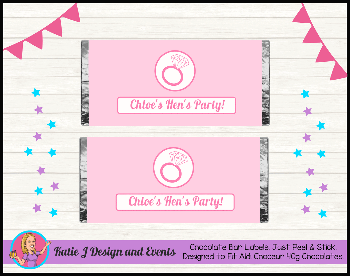 Personalised Pink Hens Party Chocolate Labels Wrappers