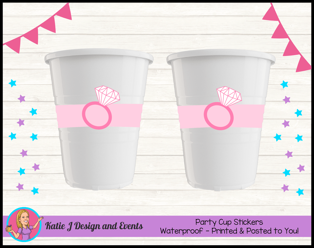 Personalised Pink Hens Party Cup Stickers Cups