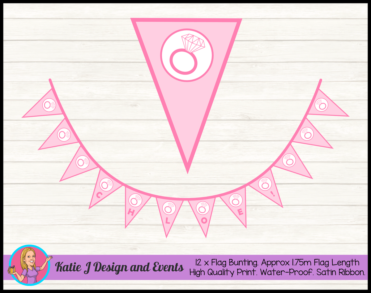 Personalised Pink Hens Party Flag Bunting Name