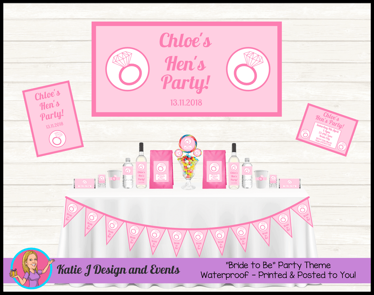 Personalised Pink Hens Party Packs Decorations Supplies