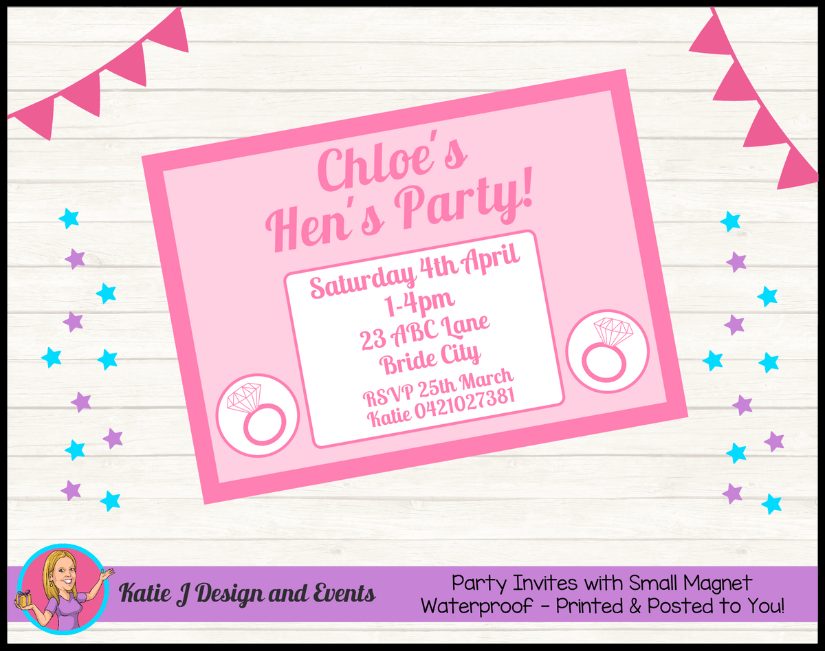 Personalised Pink Hens Party Invites Invitations