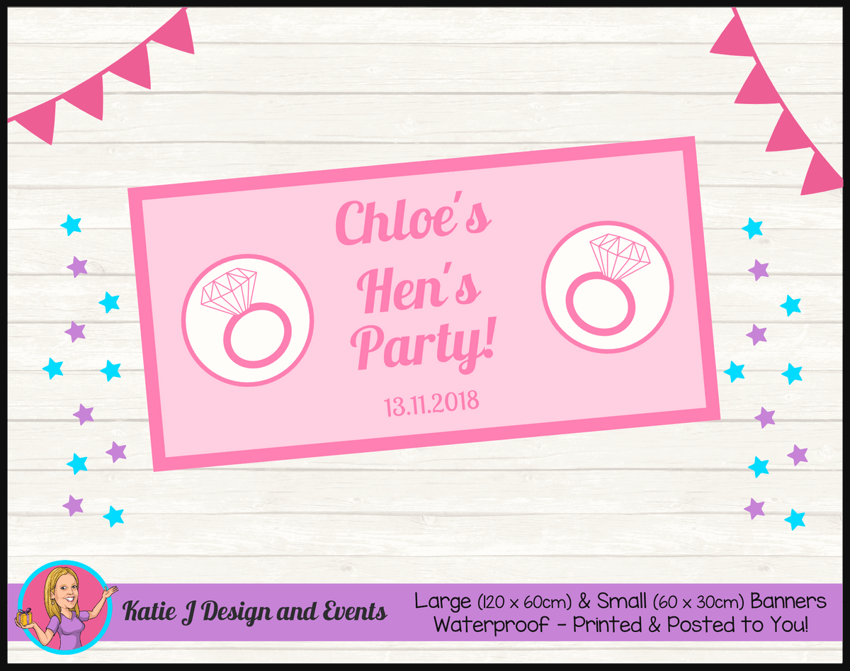 Personalised Pink Hens Party Banners