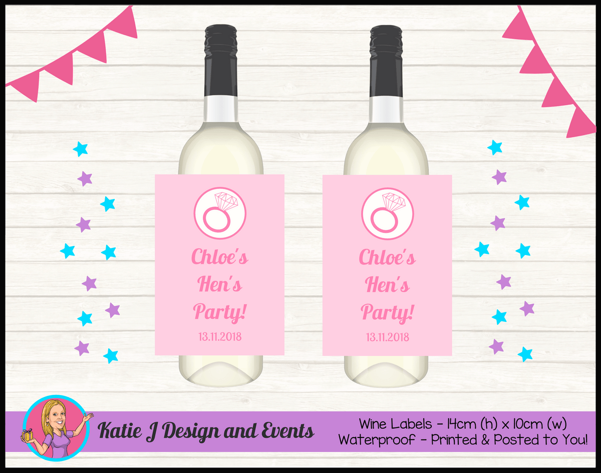 Personalised Pink Hens Party Wine Bottle Labels