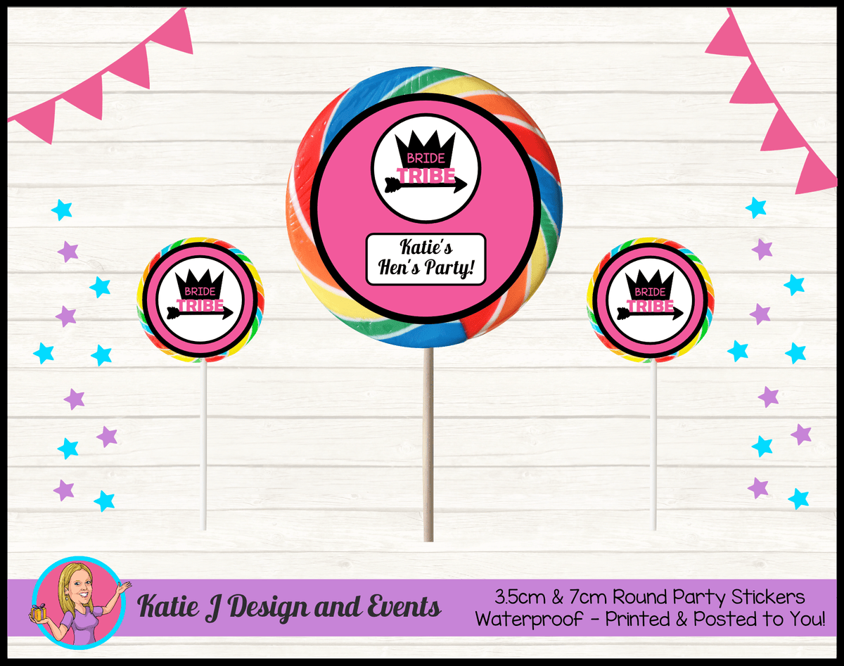 Bride Tribe Personalised Hens Party Round Lollipop Stickers