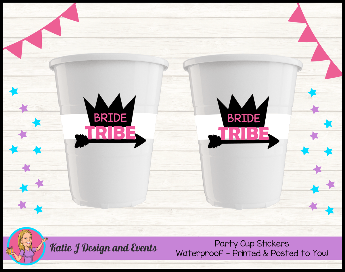 Bride Tribe Personalised Hens Party Cup Stickers Cups