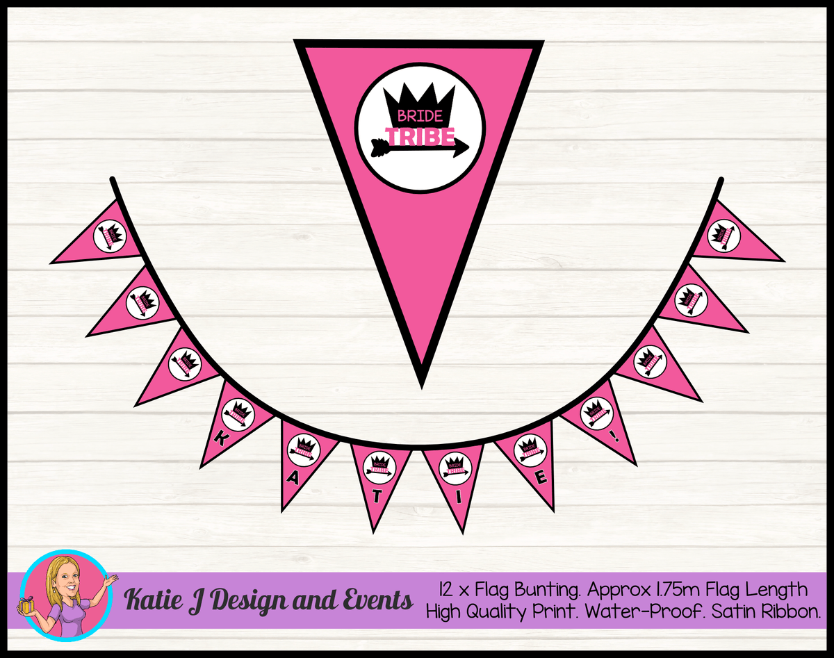 Bride Tribe Personalised Hens Party Flag Bunting Name