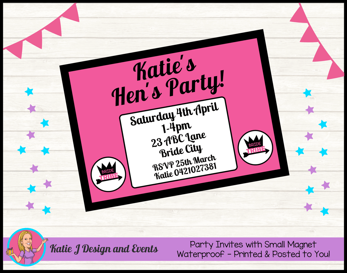 Bride Tribe Personalised Hens Party Invites Invitations