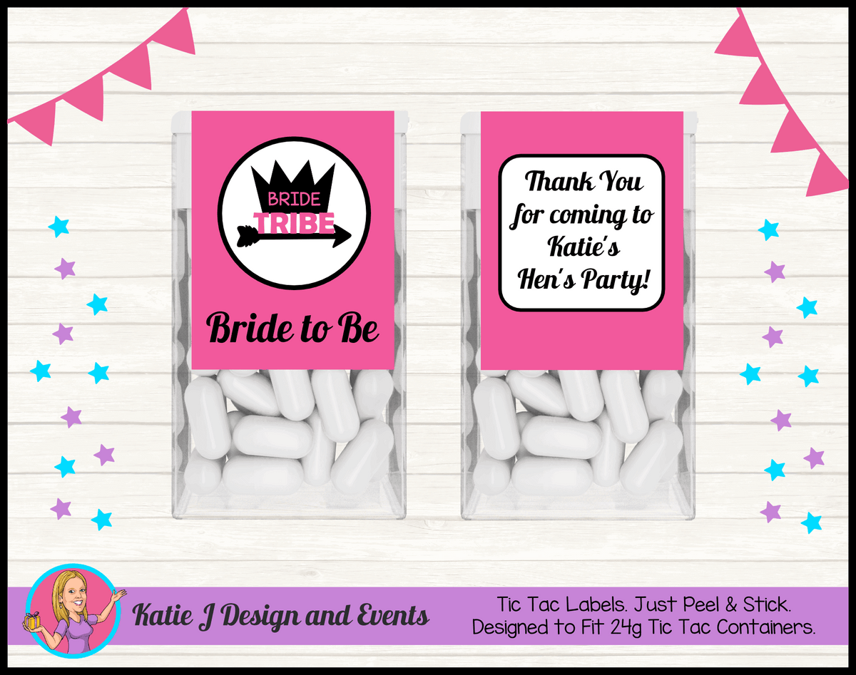 Bride Tribe Personalised Hens Party Tic Tac Mint Labels