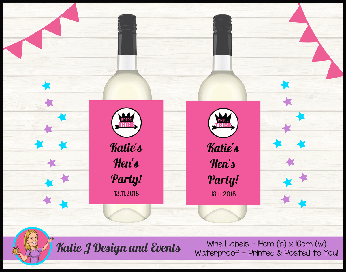Bride Tribe Personalised Hens Party Wine Bottle Labels
